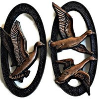 Miller Studio Geese Wall Plaques Copper Black Iron Pair
