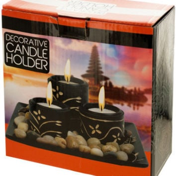 decorative candle holders with stones Case of 6