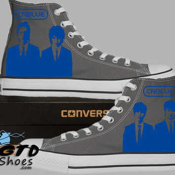 Hand Painted Converse Hi. CNBLUE Rock Band. Jung Yong-hwa. Charcoal grey. Handpainted Shoes