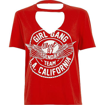 Petite red 'girl gang' choker neck T-shirt - print t-shirts / tanks - t shirts / tanks - tops - women