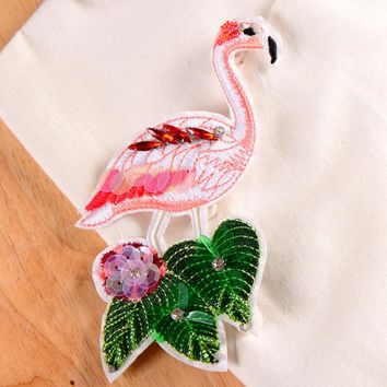 Pink Flamingo Rhinestone and Sequin Iron-On Clothing Patch