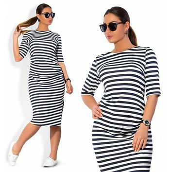 Big size 6XL 2016 Summer Dress Casual women Loose Zebra stripes dresses plus size women clothing 6xl Fat MM dress