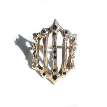 14k Gold Black Diamond Gate Ring