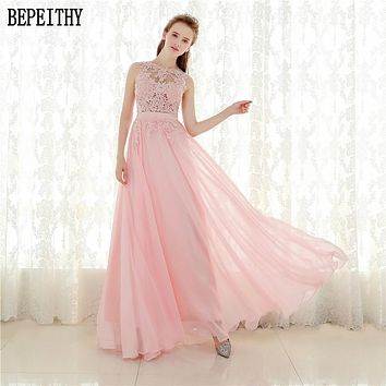BEPEITHY Robe De Soiree A line Pink Chiffon Long Evening Dress Party Elegant Sheer Back Real Photo Sleeveless Prom Gown 2017