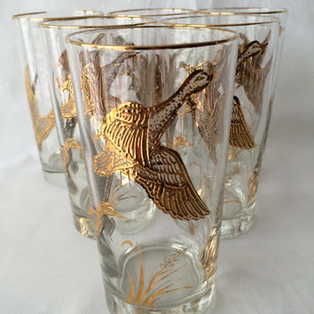 Libbey Golden Duck, Highball Tumblers, Raised gold design, Painted gold texture, Vintage Barware,  Duck Hunting Glass, Thanksgiving glasses
