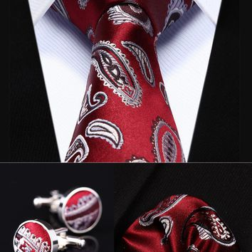 "TZP09R8 Red Gray Paisley 3.4"" Silk Men Tie Necktie Handkerchief Cufflinks Set Party Wedding Classic Pocket Square Tie"