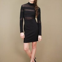 Black vintage bodycon dress with sheer panel insets | shopcuffs.com