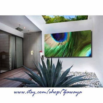 peacock feather painting wall decor art stretched canvas ready to hang FREE SHIPPING design#13