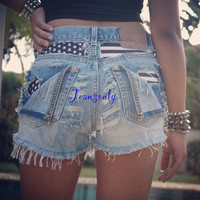 High waisted American flag denim shorts,destroyed shorts,Plus size American flag shorts by Jeansonly