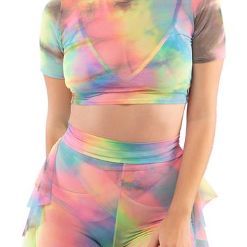 Utopia Crop Top in Tie Dye Mesh