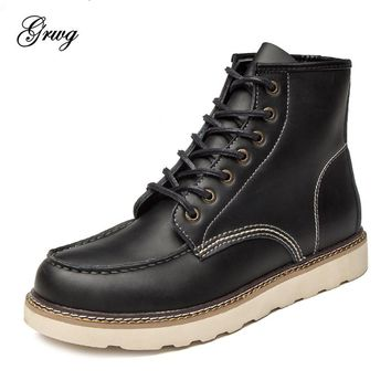 GRWG 2018 Fashion Men Vintage Motorcycle Boots Spring Winter 2018 New Cow Split Leather Waterproof Ankle Boots Men Shoes