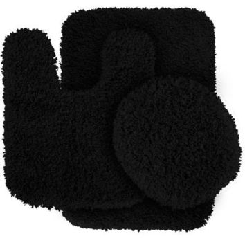 Garland Rug Serendipity Black 21 in. x 34 in. Washable Bathroom 3 -Piece Rug Set-SER-3pc-17 at The Home Depot