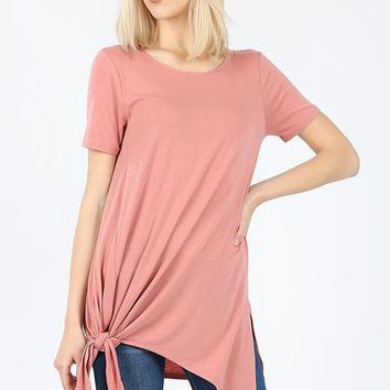 Short sleeve asymmetrical tie shark bite hem top ash rose