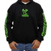 Pullover Hoodie - Black with Neon Green Logo: Hunting Apparel | Hunting Clothes | Shirts | Stickers | Decals