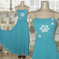 Vintage 70s TEAL Beaded Full Sweep Dancing Dress