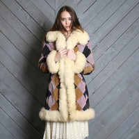 1970s Winter COAT / Purple Diamond Suede with Cozy SHEARLING Fur Trim, xs-s