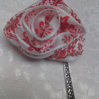 Red & White Fabric Flower Ribbon Large Silver Bookmark