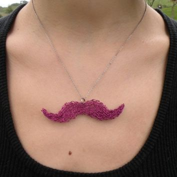 $28.00 Le Pink Mustache Necklace Knitted Wire Jewelry by nanouke on Etsy