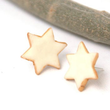 Star Earrings, Glow in the Dark Polymer Clay  Studs