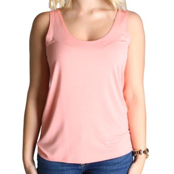 Peach Piko Tank Top