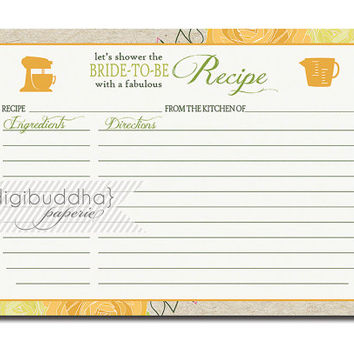 Floral Bloom Recipe Card INSTANT DOWNLOAD Mustard Yellow Green Kraft Bridal Shower 5x7 DIY Printable or Printed - Sadie Style