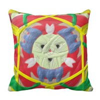 Colorful kaleidoscope pattern throw pillows