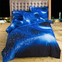 Bedding Sets Universe Outer Space Blue Galaxy New 4/3pcs Quilt Duvet Cover Bed Sheet Sell Pillowcase Twin Queen