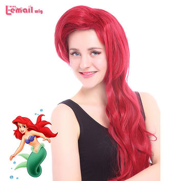 Free Shipping 70CM 2 Color Brown Red Women Long Wavy Synthetic Princess The Little Mermaid Ariel Wig Cosplay