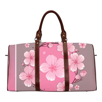 Women's Cherry Blossoms Brown Travel Bag
