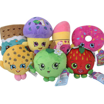 Kawaii Fruit Plush Toys 17-25cm Strawberry Apple Cookies Donuts Lipstick Chocolate Muffin Stuffed Toys Dolls Gift for Kids Girl