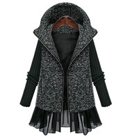 Grey Casual Mosaic Hoodies Knit Outerwear