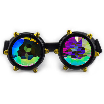 Black Bolt Kaleidoscope Goggles for Raves