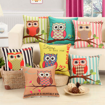 "American Style Cartoon Owl Office Home Decorative Sofa Cushion Throw Pillowcases 18"" Vintage Cotton Linen Square Pillows Jan04"