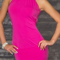 Pink Beaded Neck Sleeveless Bodycon Dress