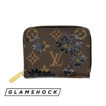 RARE LOUIS VUITTON ZIPPY COIN PURSE Monogram Blossom Black Compact Zip Card Case