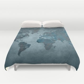 World map 6 blue Duvet Cover by jbjart