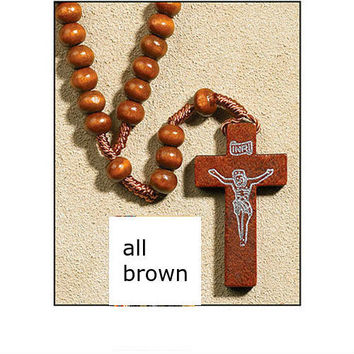 franciscan rosary beads with wooden cross - brown Case of 600