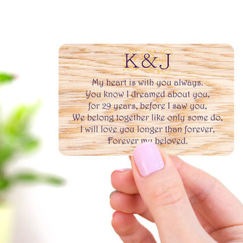 Wallet Card Insert, Wallet Insert, Engraved Wallet Card, Custom Wallet Insert, Anniversary Gift for Him, Wood Wallet Insert, Wallet Card