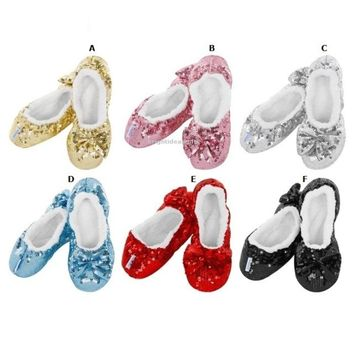 Snoozies SHERPA FLEECE COSY SLIPPERS  Sequin Ballerina Bling Designer Collection
