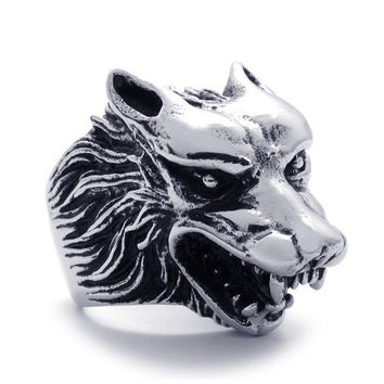 316L Titanium Steel Wolf Head Ring for Men's Hipster Jewelry Fashion-Size 9