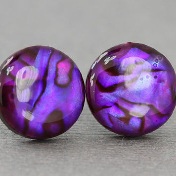 Purple Stud Earrings : Violet Glass and Shell Stud Earrings, Sterling Silver Posts, Fake Plugs, Fun, Neon, Bright, ArtisanTree