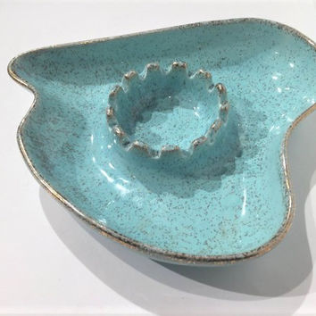 Vintage Blue Atomic Ashtray, 1960s Blue and Gold Cal Style Ceramic Ashtray, Heart Shaped Turquoise Teal Mid Century Ashtray, Mad Men Ashtray