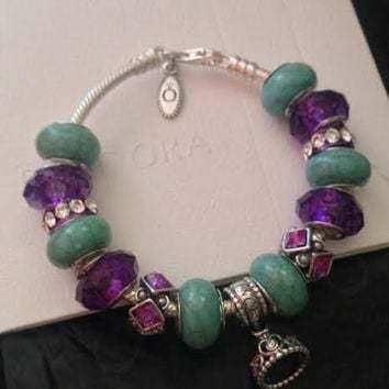 Authentic Pandora Charm Bracelet w Purple Crystal Beads and Princess Tiara Charm