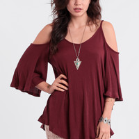 Dolores Park Cutout Top In Burgundy