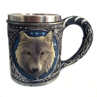 New Double Wall Stainless Steel 3D Wolf Head Mugs Coffee Beer Mug Animal Wolf Drinking Mug