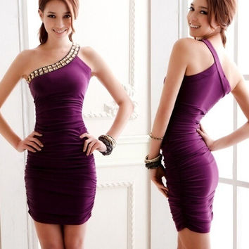 Purple Slim fitting Sheath Above Knee Sexy Women's Fashion Rayon Plain Dresses = 1956831172