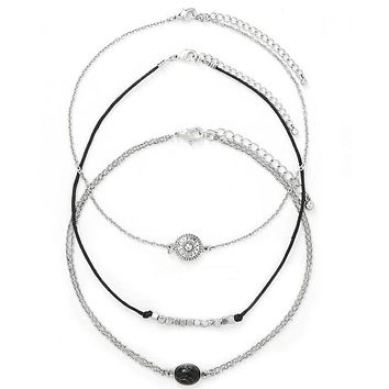 3Pcs/Set Fashion Bohemian Punk Style Stone Crystal Charm Choker Necklace for Women Girls Boho Jewelry Silver Gifts