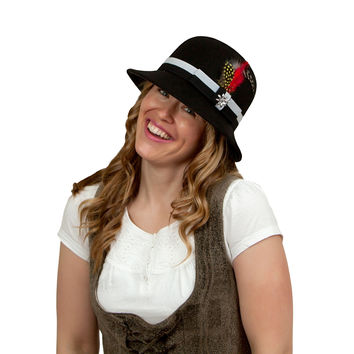 Ladies Black Hat with Edelweiss Hat Pin and Feathers