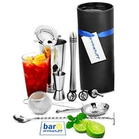 Barman's Barware Kit by bar@drinkstuff | Cocktail Gift Set with Boston Cocktail Shaker Tin & Glass, Jigger Measure, Muddler, Twisted Mixing Spoon, Pourers, Hawthorne Cocktail Strainer, Julep Cocktail Strainer & Conical Cocktail Sieve