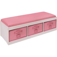 Walmart: Badger Basket Kid's Storage Bench with Cushion and 3 Bins, White/Pink